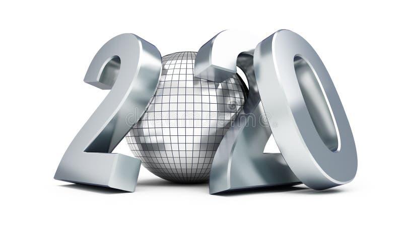 Bola 2020 em uma ilustração branca do fundo 3D, rendição do disco do ano novo 3D ilustração stock