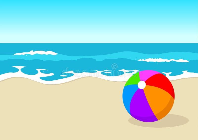 Bola en la playa stock de ilustración