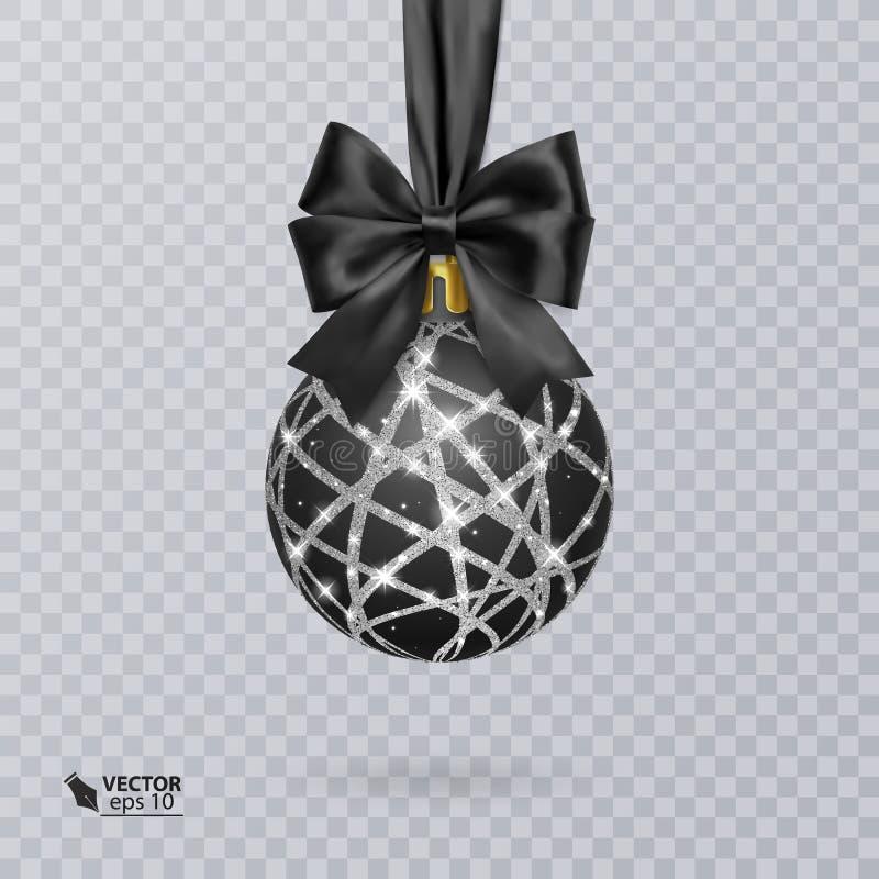 Bola enegreça, do Natal decorada com uma curva preta realística e um ornamento brilhante, de prata Ilustração do vetor ilustração do vetor
