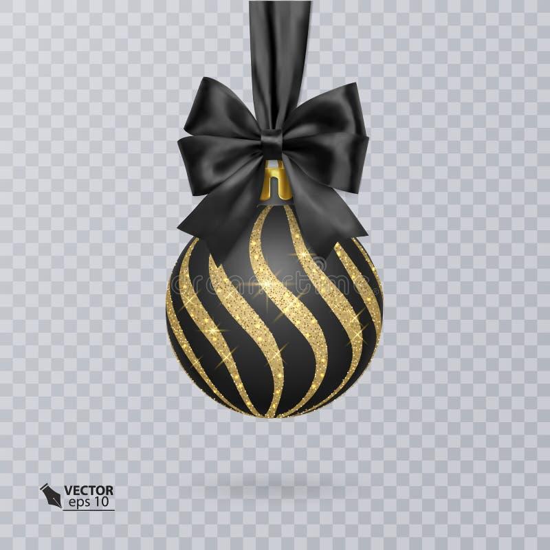 Bola ennegrézcase, de la Navidad adornada con un arco negro realista y un brillante, ornamento del oro Ilustración del vector libre illustration