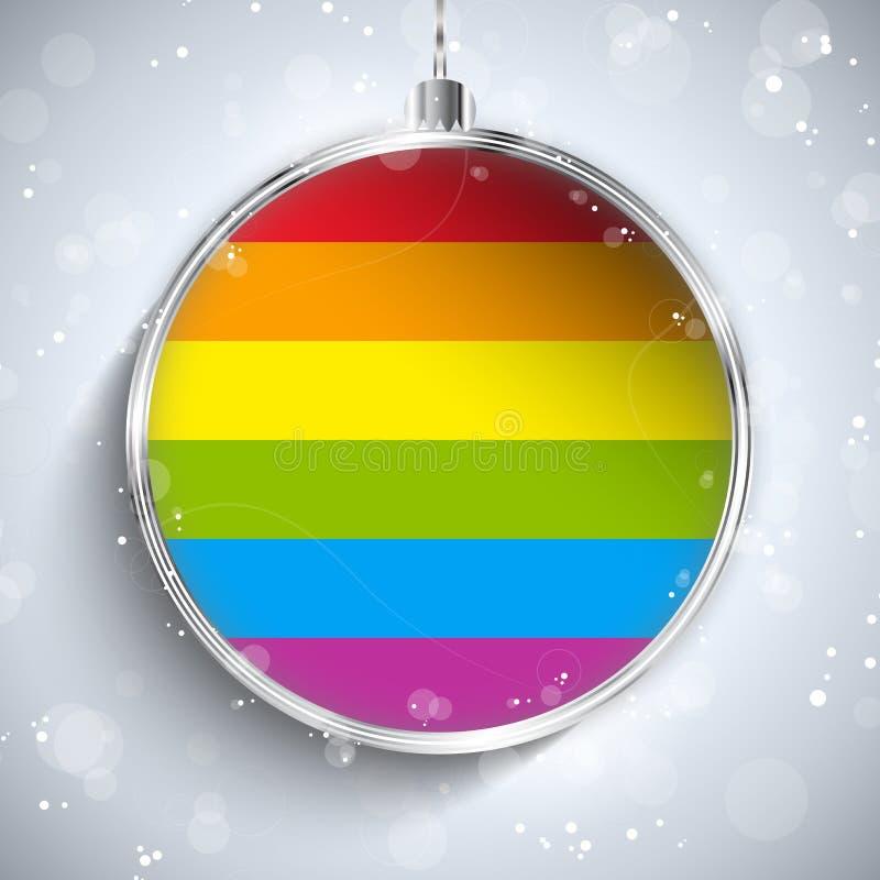 Bola gay de la Feliz Navidad de la bandera stock de ilustración