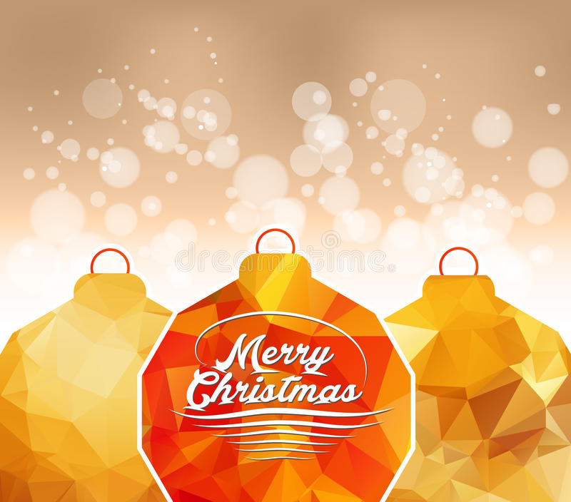 Bola geométrica del oro de la Feliz Navidad stock de ilustración