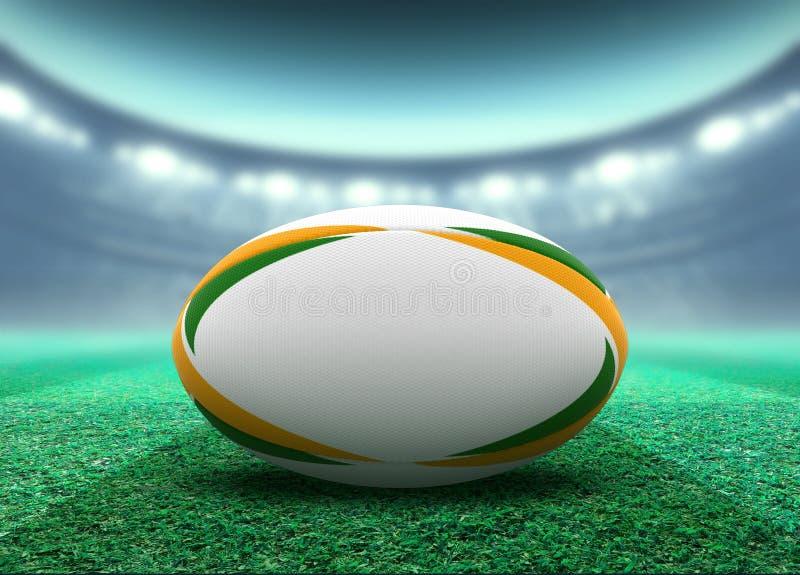 Bola iluminada con focos del estadio y de rugbi libre illustration