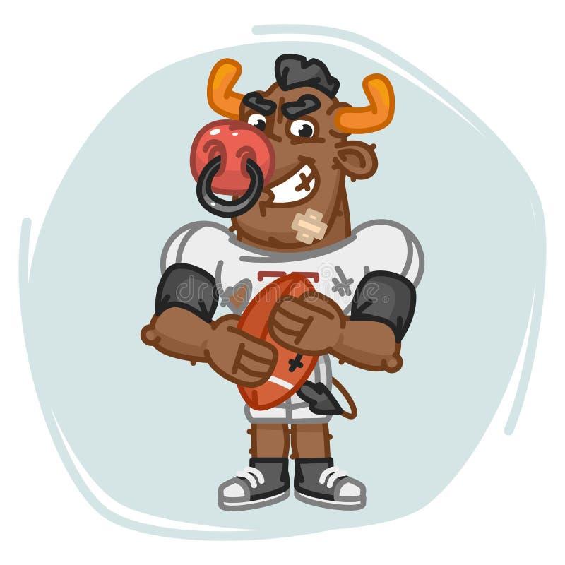 Bola irritada das posses do jogador de futebol de Bull ilustração royalty free