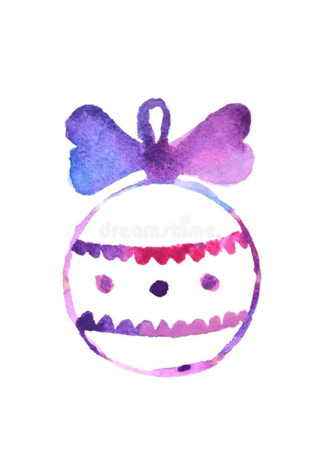 Bola linda de la Navidad de la acuarela, ejemplo dibujado mano, elemento festivo del diseño, icono stock de ilustración