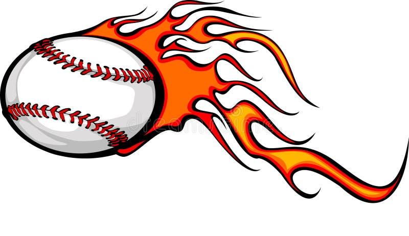 Bola llameante del béisbol ilustración del vector