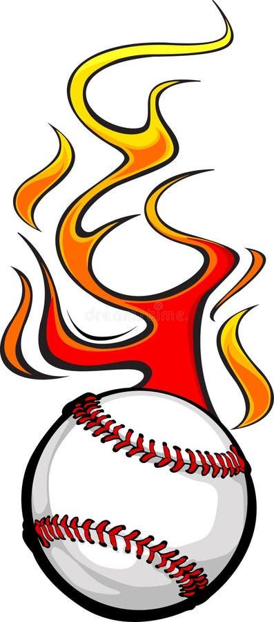 Bola llameante del béisbol stock de ilustración