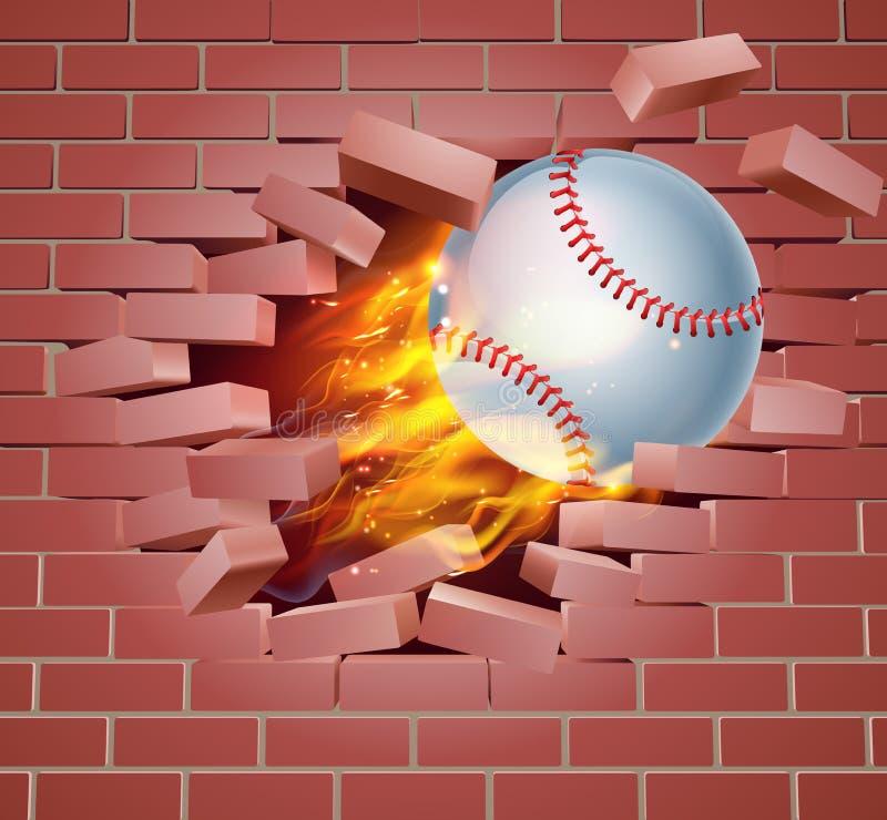 Bola llameante del béisbol que se rompe a través de la pared de ladrillo stock de ilustración