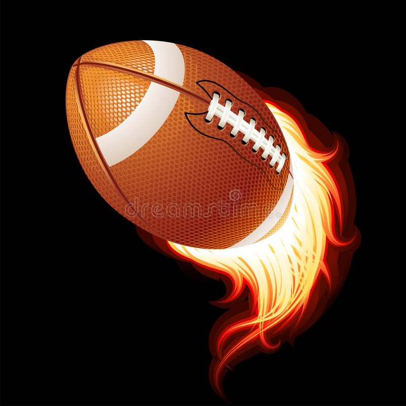 Bola llameante del fútbol americano del vector que vuela ilustración del vector