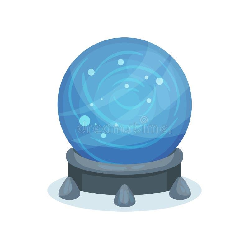 Bola mágica azul grande en soporte gris Esfera cristalina con las chispas dentro Vector plano para el libro móvil del juego o de  ilustración del vector