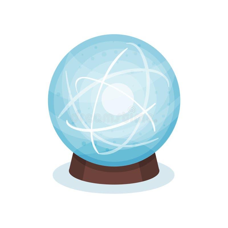 Bola mágica azul no suporte de madeira Esfera de vidro com sparkles brilhantes para dentro Vetor liso para o jogo ou a propaganda ilustração do vetor