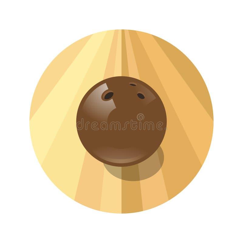 Bola marrom de rolamento no círculo Emblema do boliches Bola e pista de boliches marrons de rolamento ilustração stock