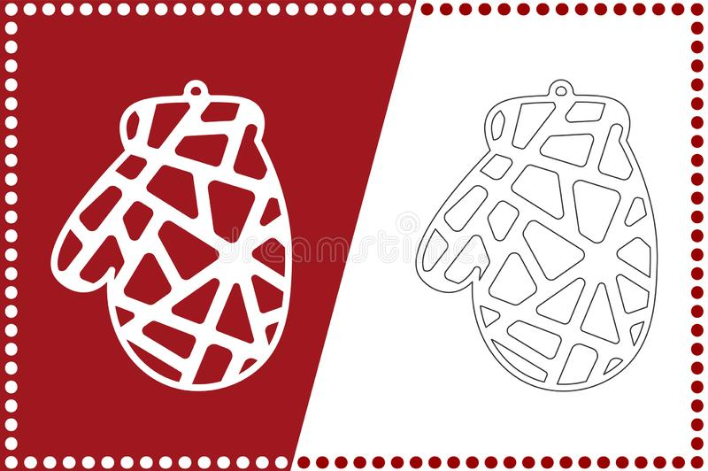 Bola moderna de la manopla de la Navidad El juguete del Año Nuevo para el corte del laser Ilustración del vector libre illustration