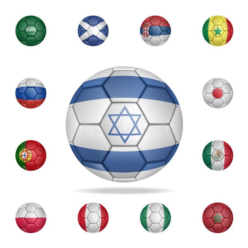 Bola nacional del fútbol de Israel Sistema detallado de balones de fútbol nacionales Diseño gráfico superior Uno de los iconos de stock de ilustración