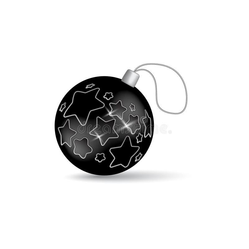 Bola negra de la Navidad con las estrellas ilustración del vector