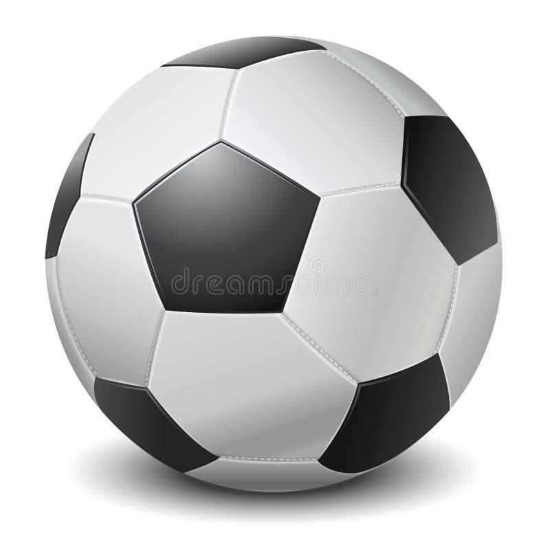 Bola negra detallada del fútbol de la franja en el fondo blanco ilustración del vector