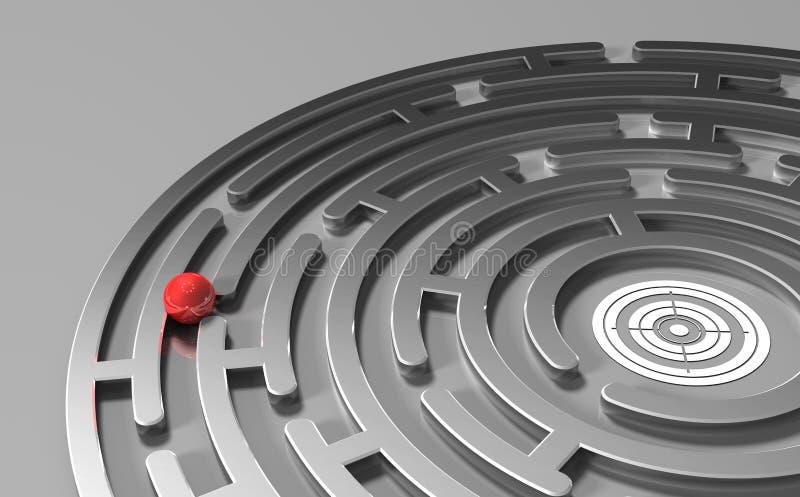 Bola no labirinto do metal com objetivo ilustração stock