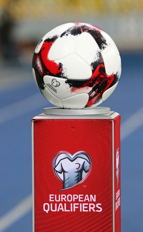Bola oficial del partido del mundial 2018 de la FIFA fotos de archivo