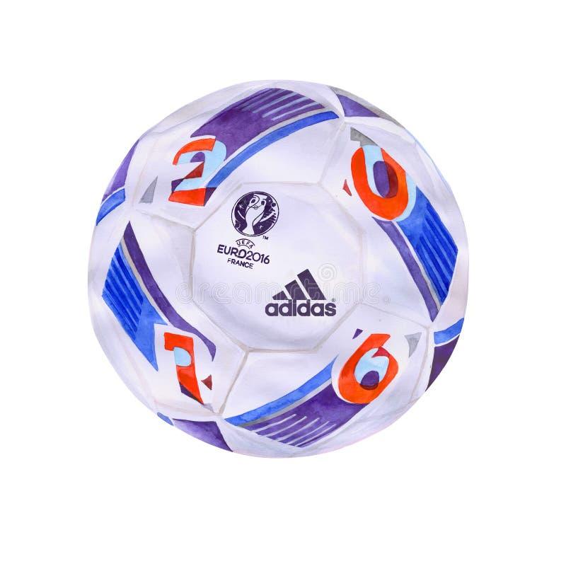 Bola 2016 oficial do campeonato de França do EURO do UEFA Projeto exato do volume da aquarela fotos de stock royalty free