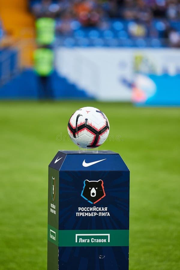 Bola oficial do fósforo durante o Premier League do russo imagem de stock royalty free