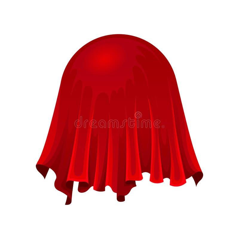 Bola ou globo sob o pano de seda vermelho no fundo branco ilustração do vetor