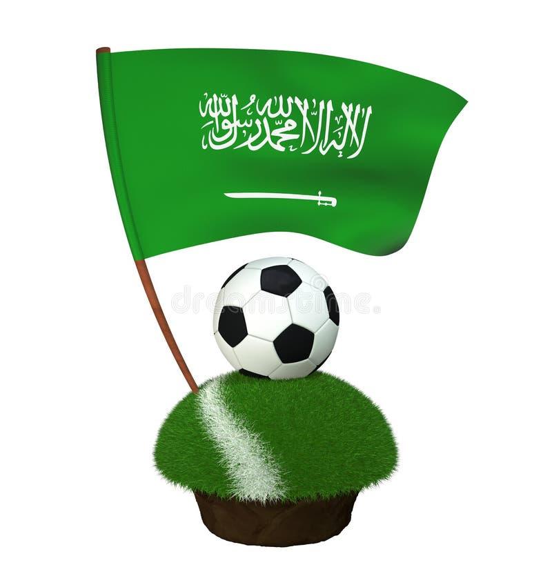 Bola para jogar o futebol e a bandeira nacional de Arábia Saudita no campo com grama ilustração do vetor
