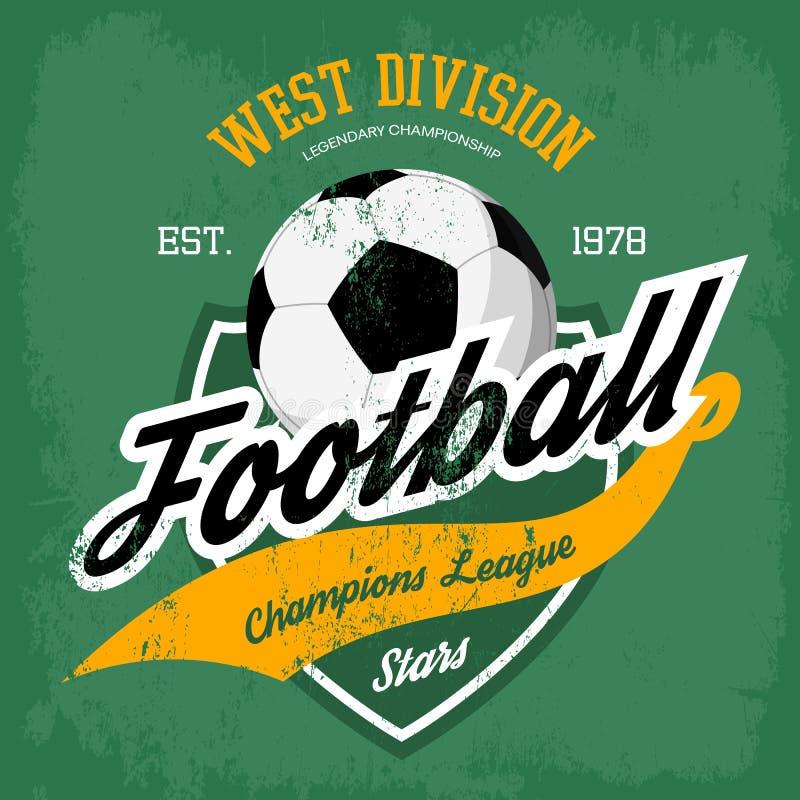 Bola para la insignia del fútbol o del partido de fútbol stock de ilustración