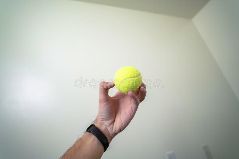 Bola pequena guardada por uma mão isolada contra uma parede e um fundo brancos do teto imagem de stock