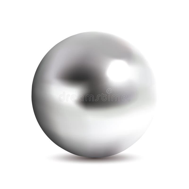 Bola Photorealistic do cromo ilustração stock