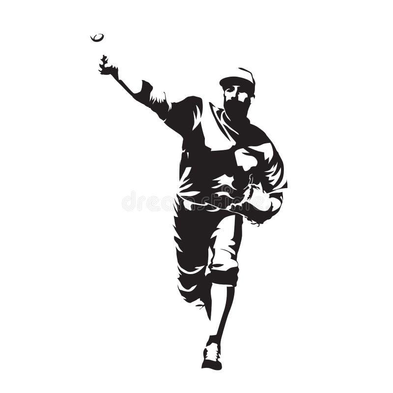 Bola que lanza de la jarra, jugador de béisbol ilustración del vector