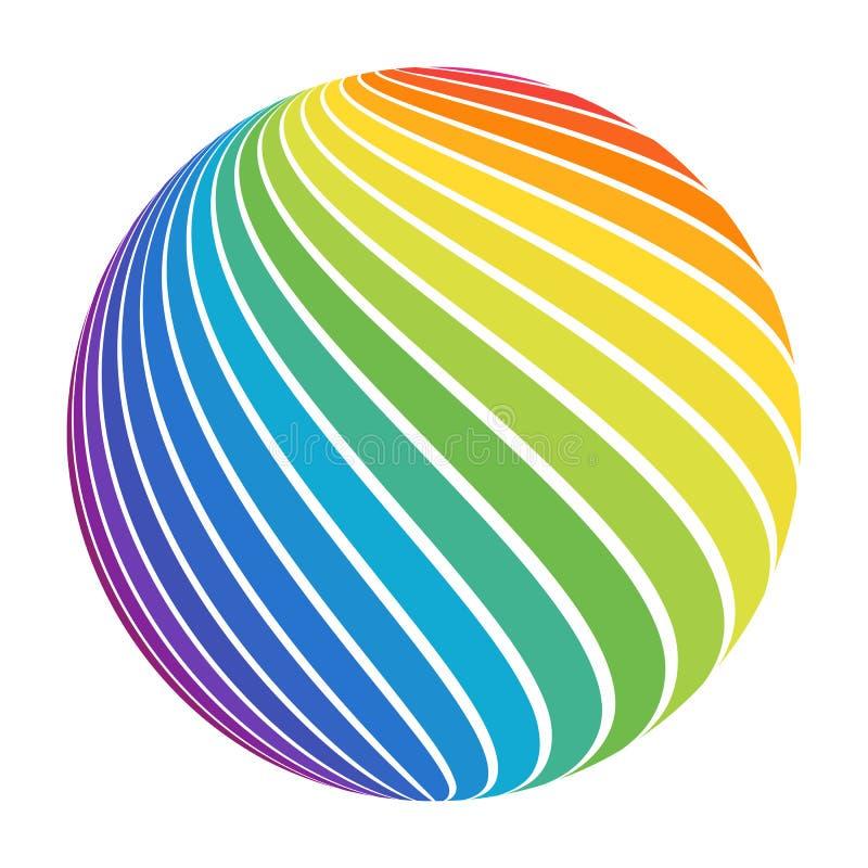 Bola rayada del espectro a todo color abstracto del arco iris stock de ilustración