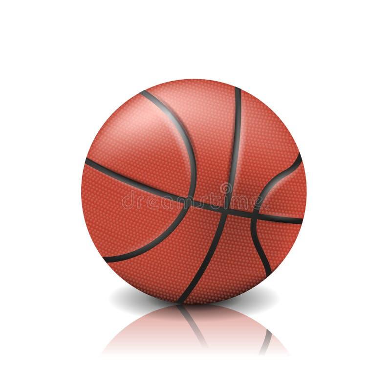 Bola realística do basquetebol isolada no fundo branco ilustração royalty free