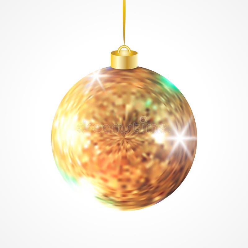 Bola realística do Natal do brilho dourado ilustração royalty free