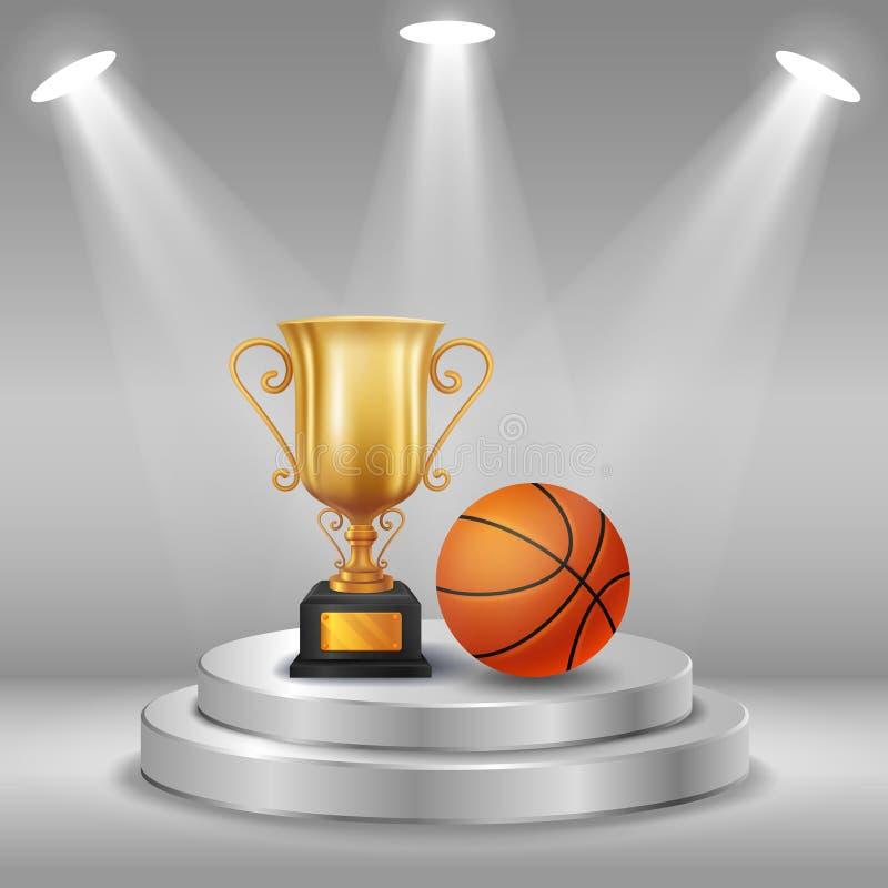 Bola realista del trofeo y de la cesta con el fondo del ganador Primer lugar de la competencia Podio con los proyectores stock de ilustración