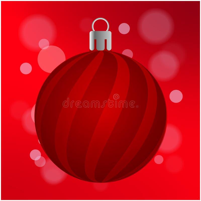 Bola roja con las rayas, fondo rojo aislado de la Navidad con el efecto de Bokeh ilustración del vector