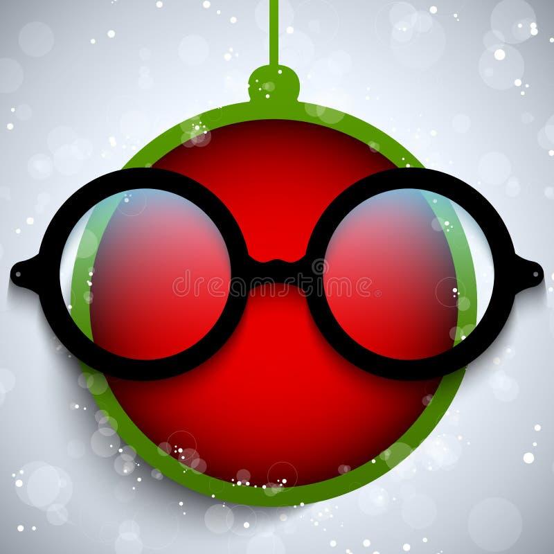 Bola roja de la Feliz Navidad con los vidrios stock de ilustración