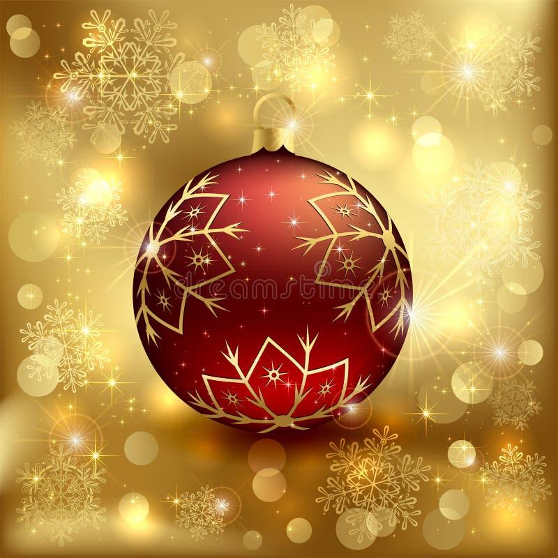 Bola roja de la Navidad ilustración del vector