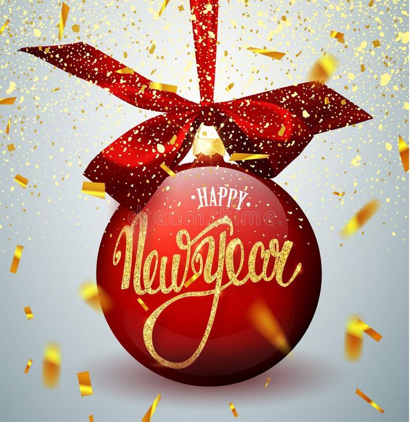 Bola roja de la Navidad con la cinta y un arco, en fondo del invierno con nieve y copos de nieve Feliz Navidad y Feliz Año Nuevo  fotografía de archivo