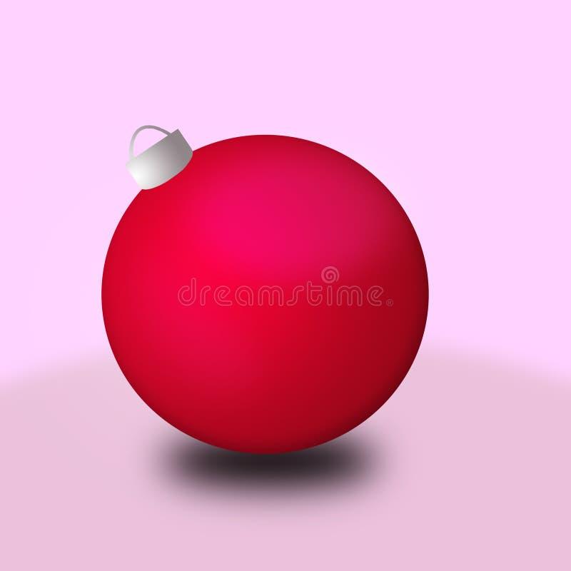 Bola roja de la Navidad en fondo rosado imágenes de archivo libres de regalías