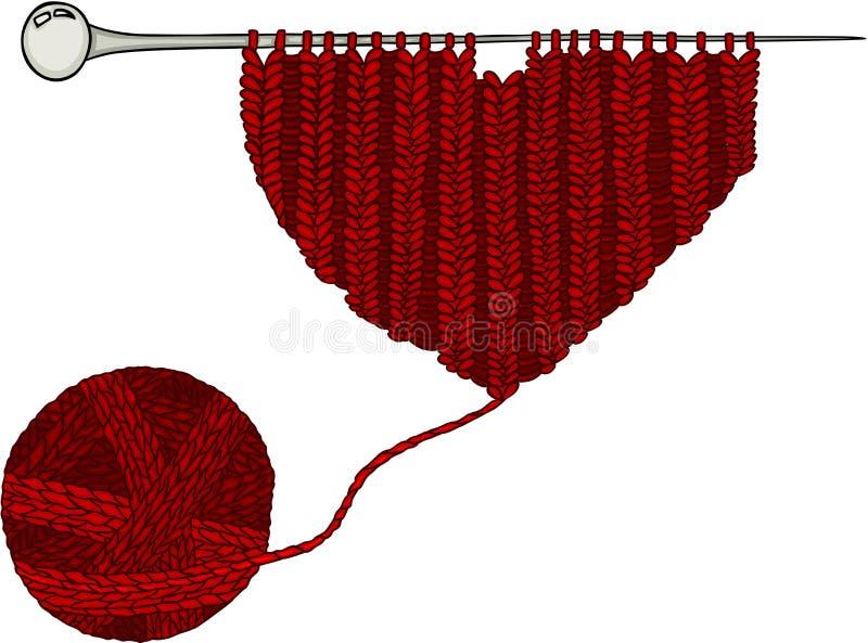 Bola roja de las lanas e hilo para obras de punto del corazón ilustración del vector