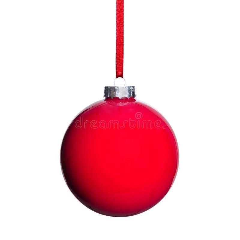 Bola roja del árbol de navidad fotos de archivo