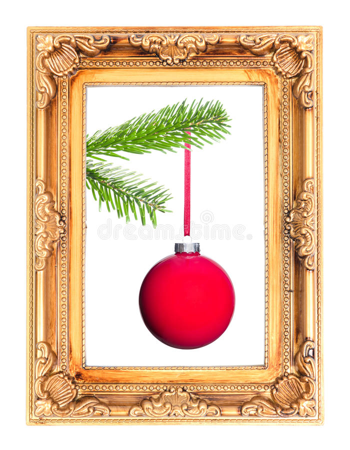 Bola roja del árbol de navidad en una rama del abeto en un marco imagenes de archivo