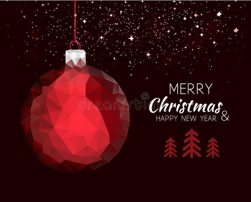 Bola roja del ornamento de la Feliz Año Nuevo de la Feliz Navidad libre illustration