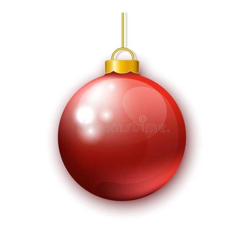 Bola roja realista de la Navidad aislada en el fondo blanco stock de ilustración
