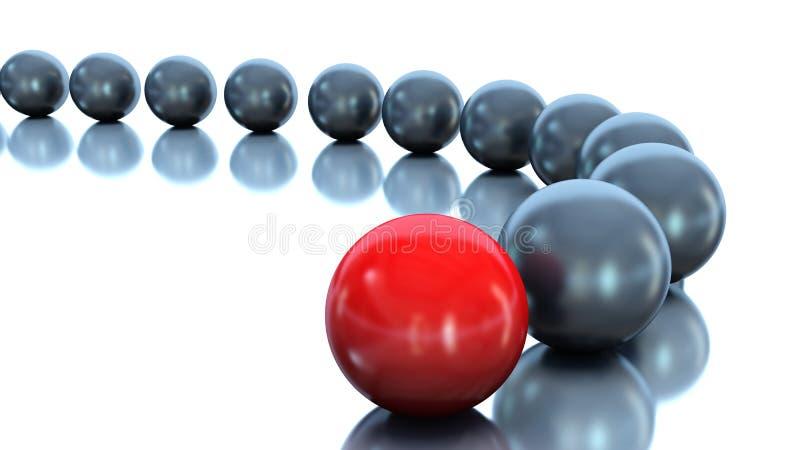 Bola roja y bolas negras Concepto de la dirección illustrat 3d ilustración del vector