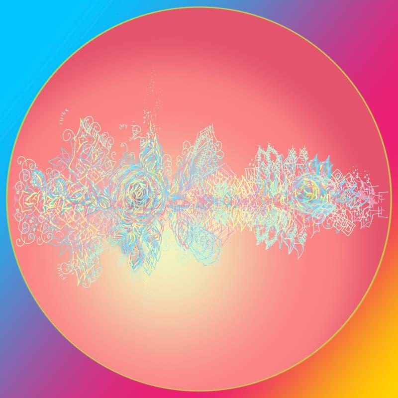 Bola rosada de la Navidad Tarjeta de la Feliz A?o Nuevo Arco iris borroso del fondo Feliz Navidad ilustración del vector