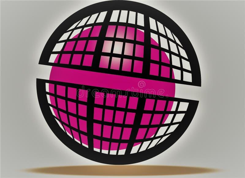 Bola rosada que camina, sol rosada en jaula, como el fuego rosado, diseño redondo de las cajas negras rosa del efecto 3d y negro  ilustración del vector
