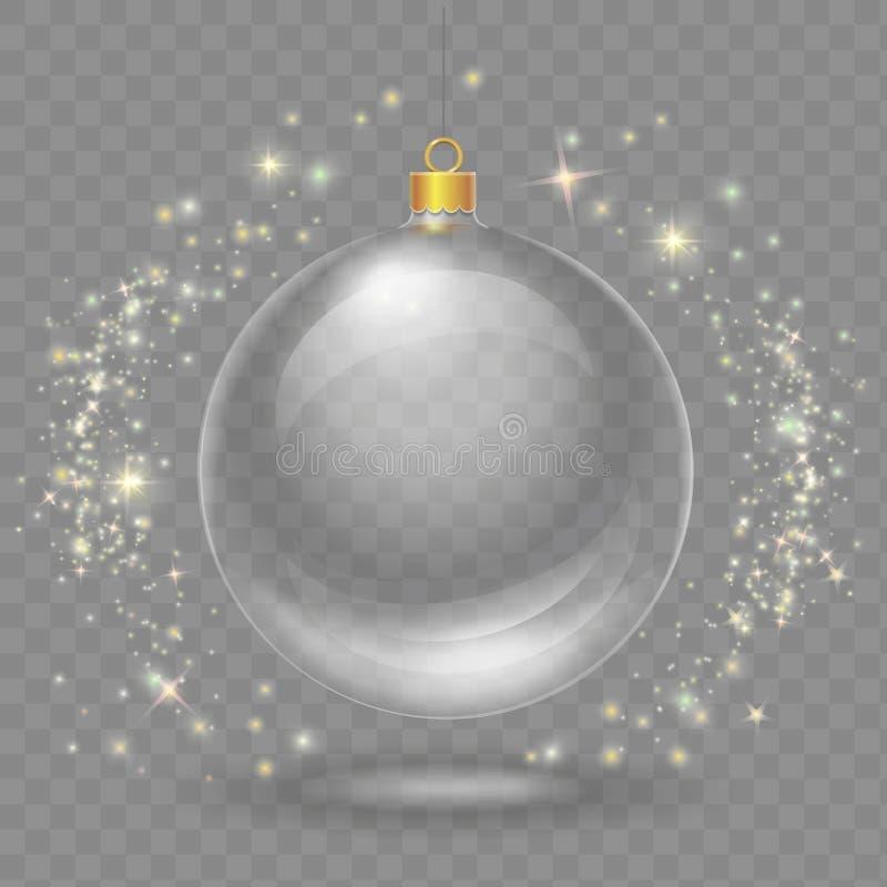 Bola transparente de vidro do Natal Elemento do projeto do vetor do Xmas ilustração stock