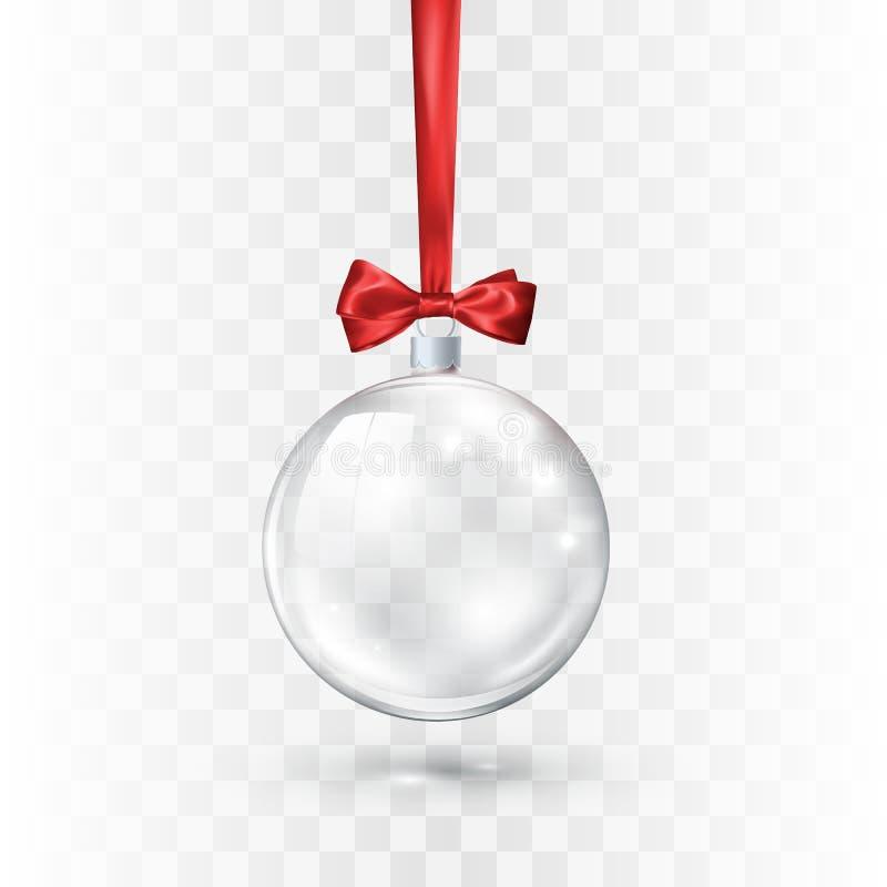 Bola transparente de vidro do Natal ornamentado pela curva e pela fita vermelhas Elemento da decoração do feriado Ilustração do v ilustração stock