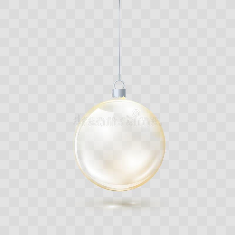 Bola transparente de vidro dourada do Natal Bola de vidro amarela do Xmas no fundo transparente Molde da decoração do feriado Vet ilustração do vetor